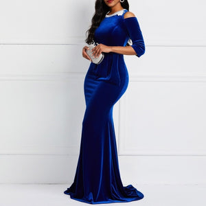 Spring Blue Gold Velvet Dress