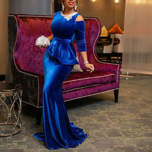 Load image into Gallery viewer, Spring Blue Gold Velvet Dress