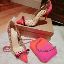 Load image into Gallery viewer, Pink Suede Heels Bowtie High Heel Shoes