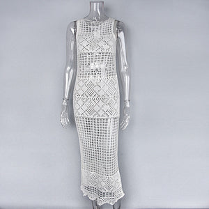 Knit Dress Embroidery Tassel Sexy O-neck