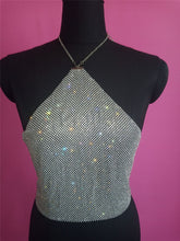 Load image into Gallery viewer, Halter Metal chain diamond crop top