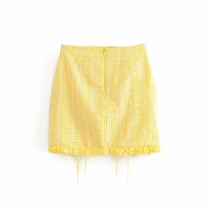 Summer Half Puff Sleeve Square Collar Lace Up Yellow Crop Top