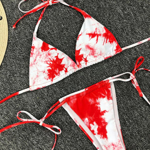 Swimsuit Swimwear Bandage Thong Bikini Set