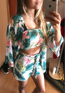 Floral Top Shorts Cardigan Long Sleeve Jumpsuit