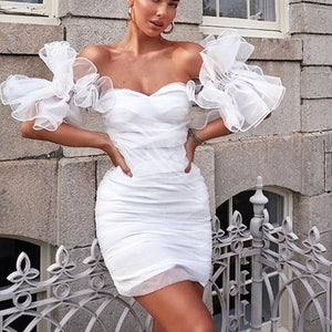 Ruffle off shoulder club  Vintage bodycon  dress