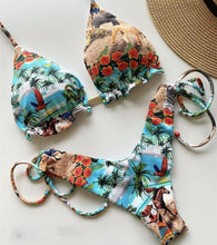 Load image into Gallery viewer, Tassel leaves print  swimsuit
