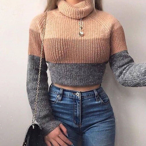 Turtlenecks Sweaters Striped Long Sleeve