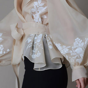 Vintage Organza  Blouse Lapel Collar Lace Up Bow