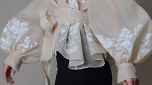 Load image into Gallery viewer, Vintage Organza  Blouse Lapel Collar Lace Up Bow