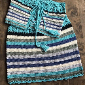 Colorful Striped Strapless Crochet Tube Crop Top and Skirt