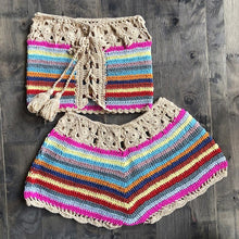 Load image into Gallery viewer, Colorful Striped Strapless Crochet Tube Crop Top and Skirt