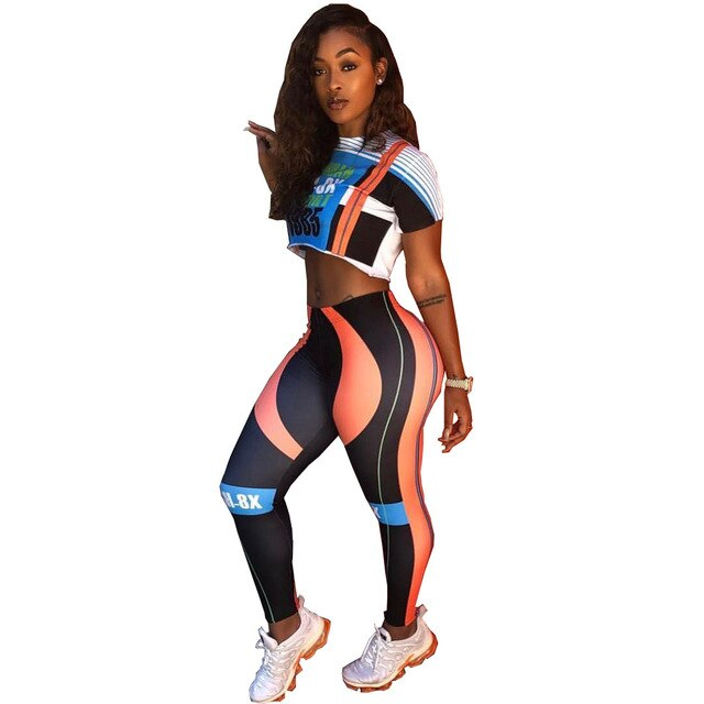 Letter Print Fitness Two Piece Outfits