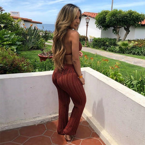 Summer Fishnet Knitted Two Piece Set