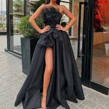 Load image into Gallery viewer, Black High Split Evening Dress