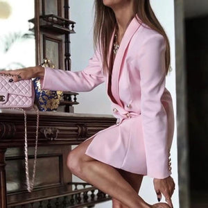 Solid Blazer  Pink Sexy Long Sleeve Double-Breasted