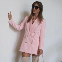 Load image into Gallery viewer, Solid Blazer  Pink Sexy Long Sleeve Double-Breasted