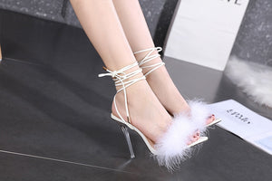 Sexy Feather  Sandals  Pointed Toe Snake Print