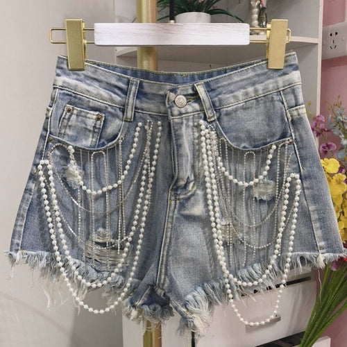Rhinestone Pearls Tassels Beads High Waist Denim Shorts