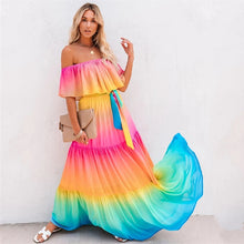 Load image into Gallery viewer, Multicolor Bikini Cover-ups Off Shoulder
