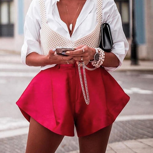 Solid Wide Leg Shorts Button High Waist
