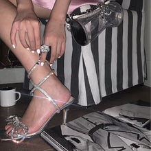 Load image into Gallery viewer, New Square Head Rhinestone Bow Stiletto Sandals