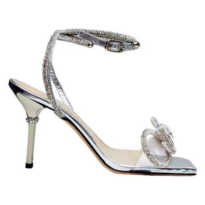 New Square Head Rhinestone Bow Stiletto Sandals