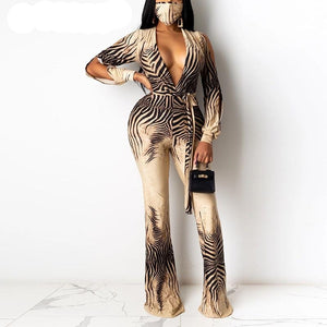 long Slit Sleeve V Neck Regular Jumpsuit