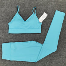 Load image into Gallery viewer, Sport Set  Crop Top T-shirt Bra Legging Sportsuit