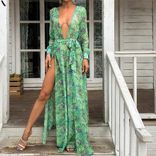 Load image into Gallery viewer, Sexy Deep V Neck Floral Print Split Boho Beach Dress