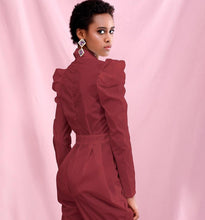 Load image into Gallery viewer, Long Sleeve Dark Red Jumpsuit