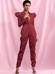 Long Sleeve Dark Red Jumpsuit