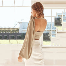 Load image into Gallery viewer, Halter Puff Sleeve Backless Bow Tie
