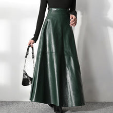 Load image into Gallery viewer, pu leather high waist vintage a-line long skirt