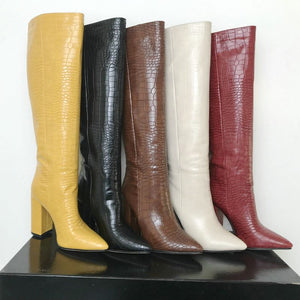 thick high heels knee high boots