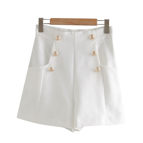 Chic Fashion With Buttons Pockets Bermuda Short