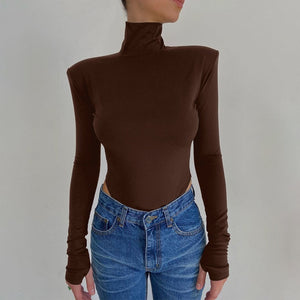 Backless Bodysuits Turtleneck