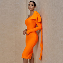 Load image into Gallery viewer, Runway Bownot One Sleeve Bandage Dress