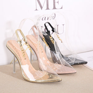 Transparent Pumps  Sexy Pointed Toe Chain Design Crystal Heel