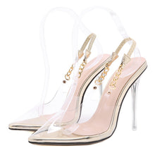 Load image into Gallery viewer, Transparent Pumps  Sexy Pointed Toe Chain Design Crystal Heel