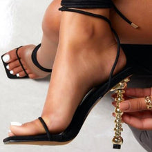Load image into Gallery viewer, Square Toe Lace Up  Gladiator Sandals