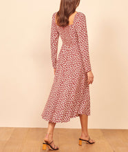 Load image into Gallery viewer, Spring Summer Square Neck Long Sleeve Vintage Floral Print Dress