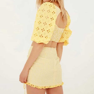 Cotton Eyelet Gingham Two piece set