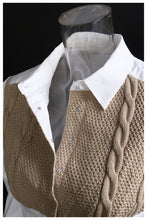 Load image into Gallery viewer, Khaki Knitting Stitch Short Blouse