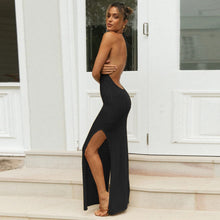 Load image into Gallery viewer, Sexy Knitted Halter Open Back Slit Maxi Dress