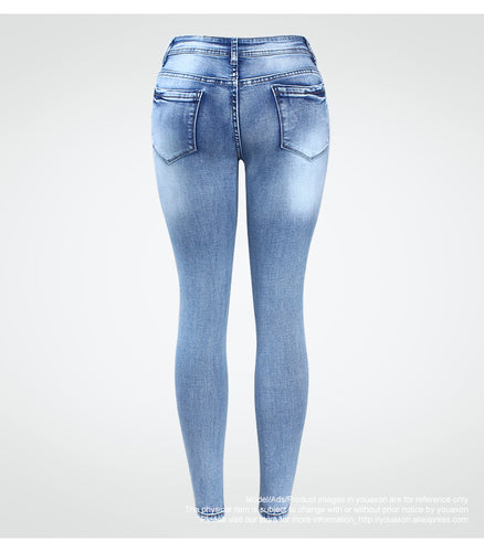 Classic Distressed Jeans Mid Waist Stretchy Ripped True Denim Pants