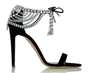 Sandals Bling Crystals Lace Up High Heel
