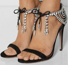 Load image into Gallery viewer, Sandals Bling Crystals Lace Up High Heel