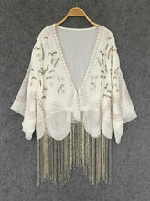 Load image into Gallery viewer, Cream-colored Cardigan chiffon boho Blouses Handmade