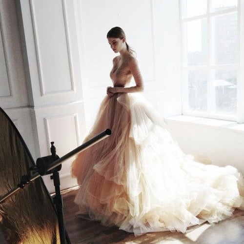 Rustic Ball Gowns For Bridal Long Tulle