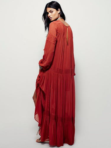 Vintage Long Sleeve Embroideried Orange Red Maxi Dress